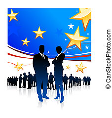 Original Vector Illustration: Business People on United States of America elections background AI8 compatible
