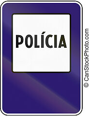Road sign used in Slovakia - Police