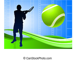 Tennis Player on Abstract Film Reel Background Original...