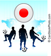 Japan Flag Icon on Internet Button with Soccer Team