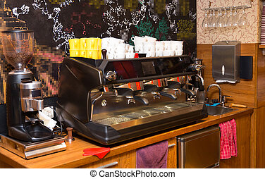 close up of coffee machine at cafe or restaurant -...