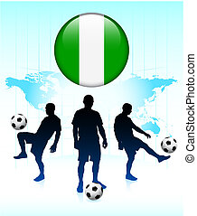 Nigeria Flag Icon on Internet Button with Soccer Team