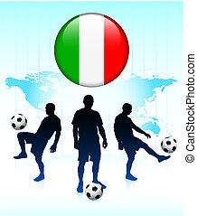 Italy Flag Icon on Internet Button with Soccer Team