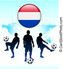 Netherlands Flag Icon on Internet Button with Soccer Team