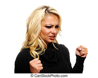 Mad, angry blond woman - A portrait of a mad and angry...