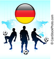 Germany Flag Icon on Internet Button with Soccer Team