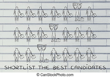 candidates in a crowd with Pick Me banners, with text Shortlist the best