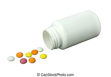 some pills of a different colors with white jar on a white...