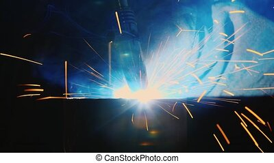Work with welding factory - Man working with welding