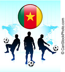 Cameroon Flag Icon on Internet Button with Soccer Team