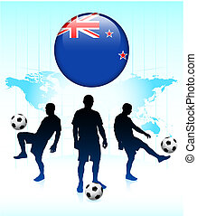 New Zealand Flag Icon on Internet Button with Soccer Team