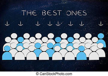 crowd with selected people in blue and text The Best ones