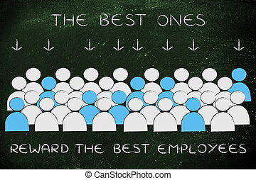 crowd with selected people in blue and text The Best employees