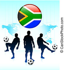South Africa Flag Icon on Internet Button with Soccer Team