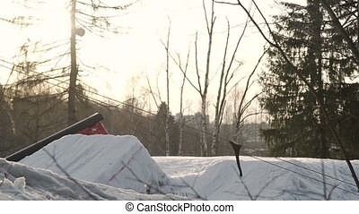 Snowboarder jumping slowmotion