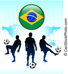 Brazil Flag Icon on Internet Button with Soccer Team...