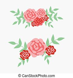 Roses with leaves. flower vector illustration