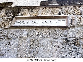 Holy Sepulcher - At the entrance to the Holy Sepulcher site...
