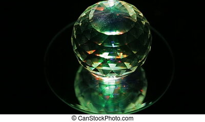 crystal ball - A plain crystal ball, sitting on black cloth.