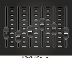panel console sound mixer vector illustration on black...