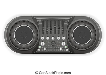 dj panel console sound mixer vector illustration isolated on...