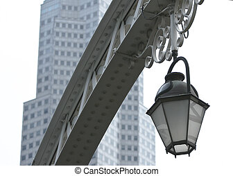 Street light in Singapore - Antique street light against a...