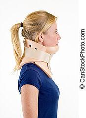 Blond Woman Wearing Neck Brace in Studio - Close Up Side...