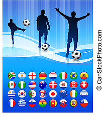 Soccer Team on Abstract Blue Background Original Vector...