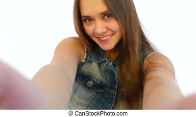 Girl Taking Selfies in Front of Camera