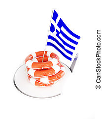 life buoy help flags greece
