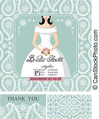 Bridal shower invitations.Bride,Winter wedding pattern -...