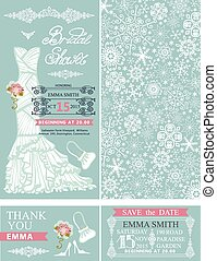 Bridal shower invitations.Winter wedding.Dress,pattern -...