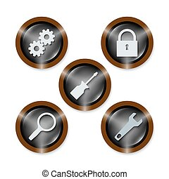 Set of five icons with different tools