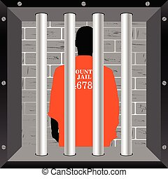 prisioner in cell illustration in colorful