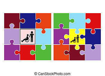 Integration and Inclusion - Concept sign to demonstrate two...