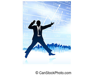 Original Vector Illustration: excited businessman with skyline and graph on internet background AI8 compatible