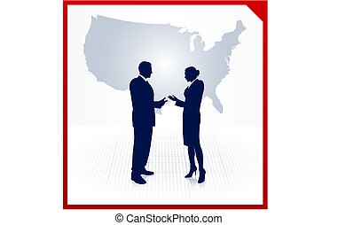 business team silhouettes on corporate elegance background -...