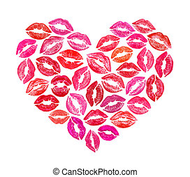 heart shape made with colourful print kisses - Beautiful...
