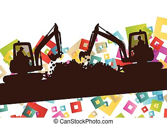 Construction site excavator and digger tractor bulldozer in...