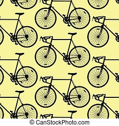 Bicycle pattern wallpaper vintage retro vector background...