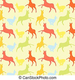 Doe deer animal seamless pattern colorful vector wallpaper...