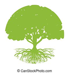Tree of life vector background abstract ecology concept round shape stylized tree with roots