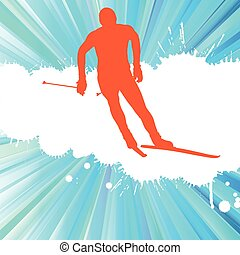 Cross country skiing man vector background concept...