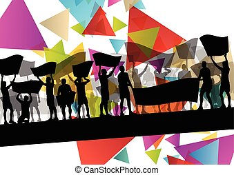 People silhouettes of cheering or protesting man and women with banners and signs in abstract vector background