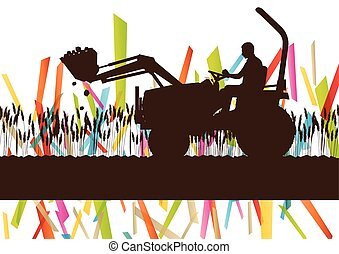 Agriculture machinery farm tractor vector illustration in...