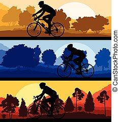 Bicyclist riding bicycle background silhouette vector...