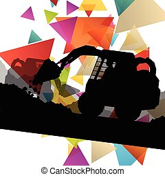 Construction site excavators and diggers with tractors and bulldozers in building site abstract vector background illustration