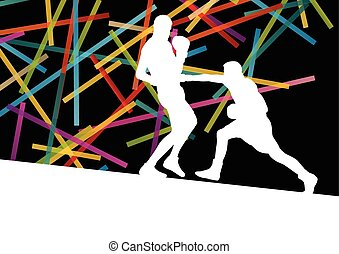 Boxing men in abstract vector concept background
