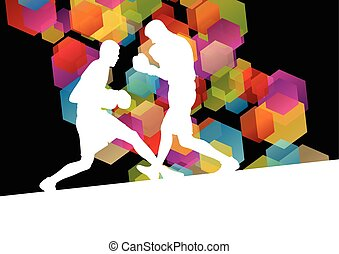 Boxing men in abstract vector concept background...