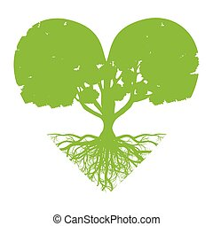Tree of life vector background abstract ecology concept heart shape stylized tree with roots